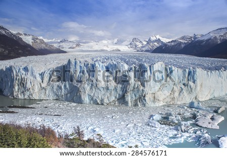 Perito Moreno Glacier is third largest glacier in the world. Located in the Los Glaciares National Park, 78 kilometres (48 mi) from El Calafate in the Argentinian Patagonia. - stock photo