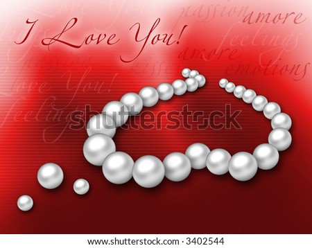perls heart on a deep red background - stock photo