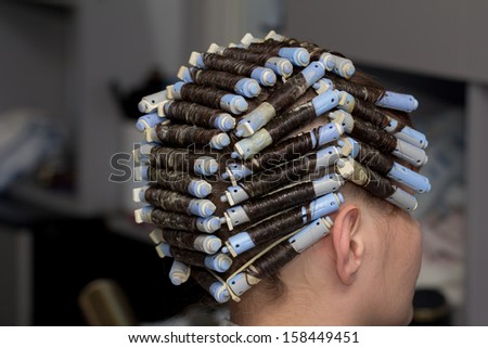perm in the barbershop - stock photo