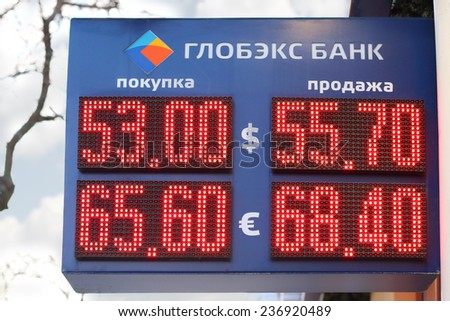 PERM, RUSSIA - DEC 9, 2014: Display Globex Bank with digits exchange rates - dollar and euro. Due to conflict in Ukraine ruble falls and dollar strengthened