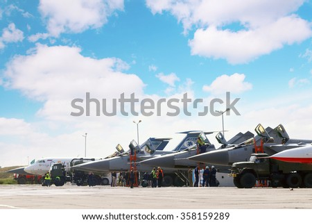 PERM, RUSSIA - JUN 27, 2015: Military aircrafts on land during airshow Wings of Parma