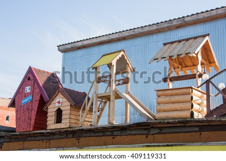 Perm, Russia - March 31.2016: Manufacture and sale of structures in wood