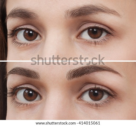 permanent makeup eyebrow - stock photo