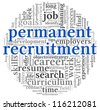 Permanent recruitment concept in word tag cloud on white background - stock vector