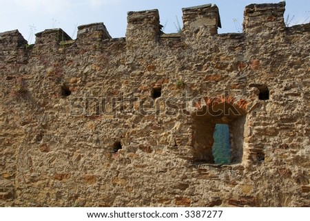 Pernstejn castle - stone guard wall with loop-hole - czech republic - central europe