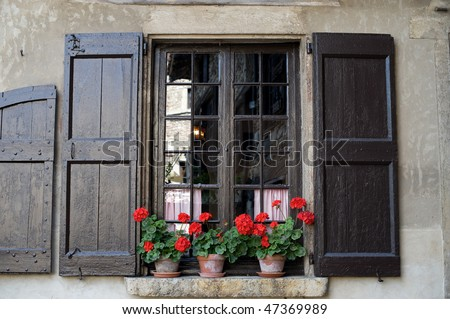 Perouges (Ain, Rhone-Alpes, France) - Window with flowers in the medieval village