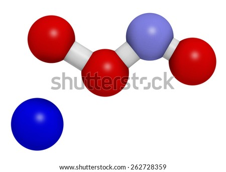 Peroxynitrite (sodium) reactive nitrogen species molecule. Formed by the reaction of the free radicals nitric oxide and superoxide in the human body. Atoms are represented as spheres. - stock photo