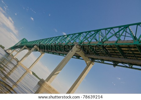 Perpendicular Image of East Side of the Structure of the Laviolette Bridge in Trois-Rivieres Quebec, Canada - stock photo