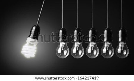 Perpetual motion with light bulbs and energy saver bulb.