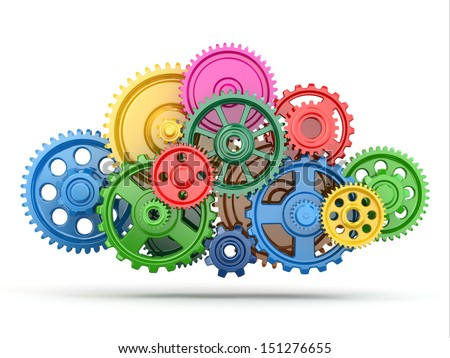 Perpetuum mobile. Color gears on white isolated background. 3d - stock photo