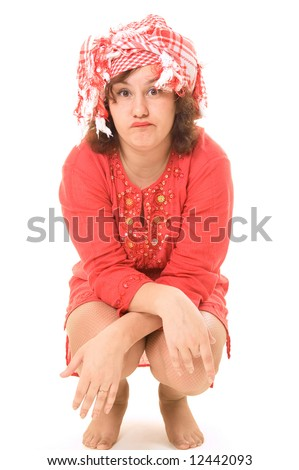 perplexed woman in red tunic isolated on white - stock photo