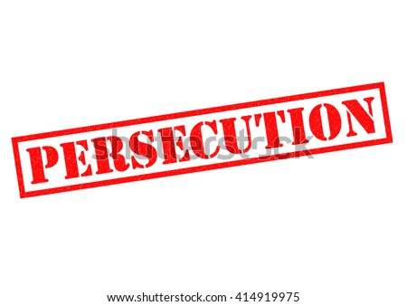 PERSECUTION red Rubber Stamp over a white background. - stock photo