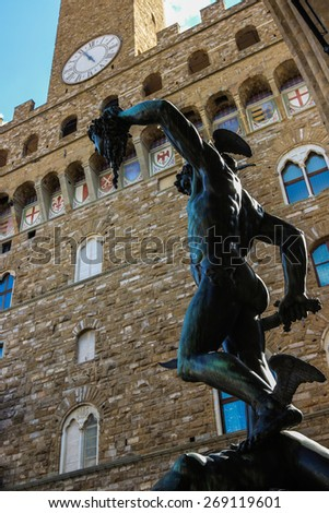 Perseo and Medusa by Benvenuto Cellini in Florence, Italy - stock photo
