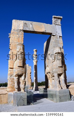PERSEPOLIS, IRAN � OCTOBER 8: Persepolis on October 8, 2013 in Fars, Iran. Persepolis was the ceremonial capital of the Achaemenid Empire, earliest remains of it date from around 515 BC. - stock photo
