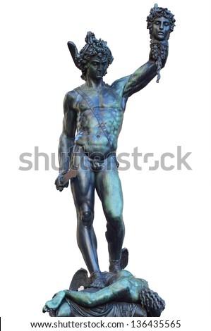 Perseus holding head of Medusa, bronze statue  in Loggia de Lanzi, Piazza della Signoria, Florence, Italy. Isolated on white - stock photo