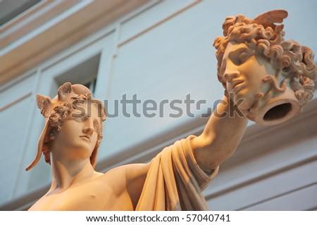 Perseus holding the head of Medusa - stock photo