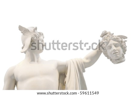 Perseus with Medusa's head isolated - stock photo
