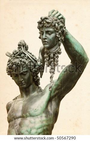 Perseus with the head of Medusa, by Benvenuto Cellini, in Loggia de' Lanzi, Piazza della Signoria, Florence - stock photo