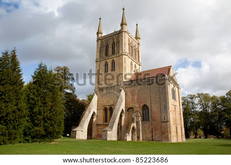 Pershore Abbey in summer time - stock photo