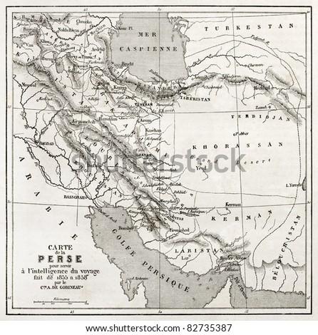 Persia old map. Created by Vuillemin, published on Le Tour du Monde, Paris, 1860 - stock photo