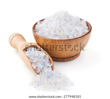 Persian blue salt in a wooden bowl isolated on white background - stock photo