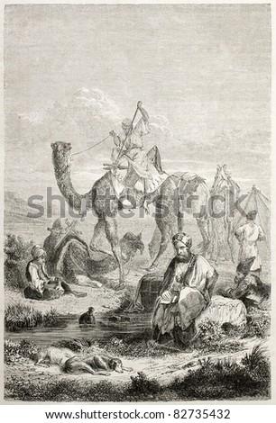 Persian caravan rest, old illustration. Created by Laurens, published on Le Tour du Monde, Paris, 1860 - stock photo