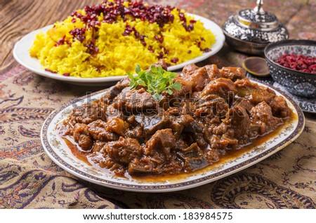 persian lamb ragout - xoresht-s badenjan - stock photo
