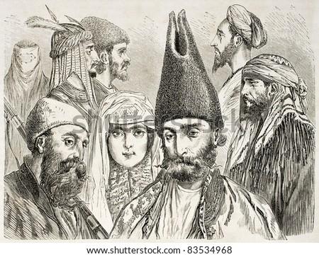 Persian men and woman old illustration. Created by Laurens, published on Le Tour du Monde, Paris, 1860 - stock photo