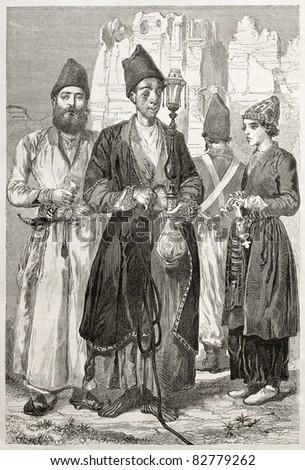 Persian men. Created by Laurens, published on Le Tour du Monde, Paris, 1860 - stock photo