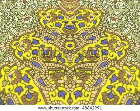 persian ornament textile closeup. More of this motif & more decors in my port. - stock photo