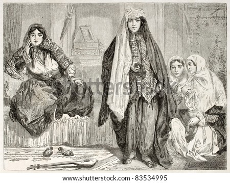 Persian women in traditional clothes. Created by Laurens, published on Le Tour du Monde, Paris, 1860 - stock photo