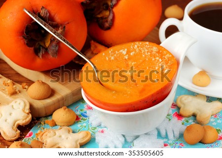 Persimmon Sharon for dessert, selective focus - stock photo