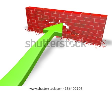 persistence, challenge concept with green arrow and brick wall isolated