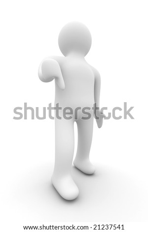 person a lowering finger downwards. Isolated 3D image.
