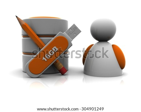 person and database - stock photo