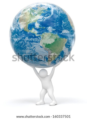 Person and Globe. Earth map provided by NASA - stock photo