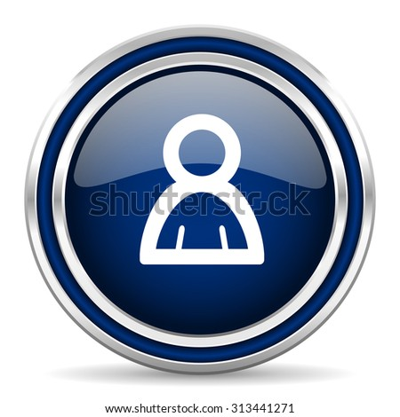 person blue glossy web icon modern computer design with double metallic silver border on white background with shadow for web and mobile app round internet button for business usage  - stock photo