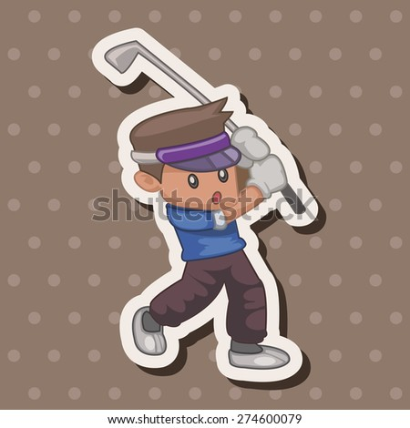 person character golfers , cartoon sticker icon