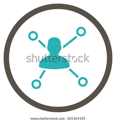 Person Connections glyph icon. Style is bicolor flat circled symbol, grey and cyan colors, rounded angles, white background. - stock photo