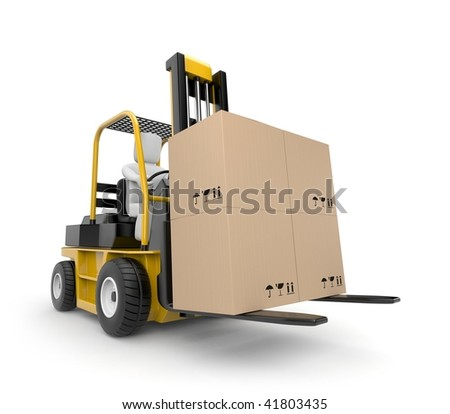 Person drive a Forklift - stock photo