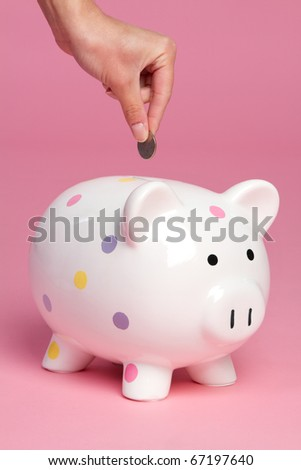 Person dropping coin into piggy bank - stock photo