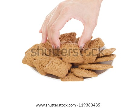 Person eating delicate speculoos