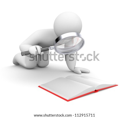 Person examines book - stock photo
