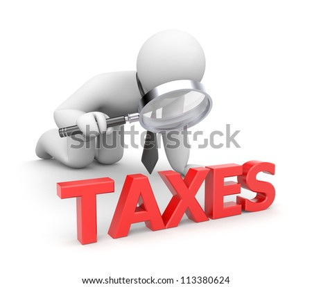 Person examines taxes