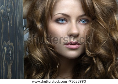 Person feminine model with sensual lips and expressive eyes close-up - stock photo