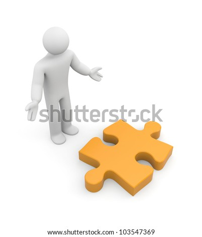 Person find puzzle. Image contain clipping path