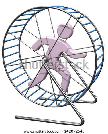 Person gets nowhere running in a hamster mouse or rat cage wheel treadmill - stock photo