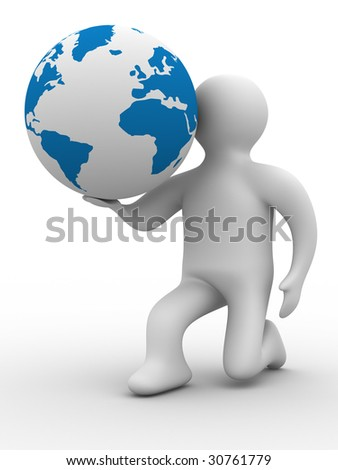 person give a globe. 3D image. Isolated illustrations - stock photo