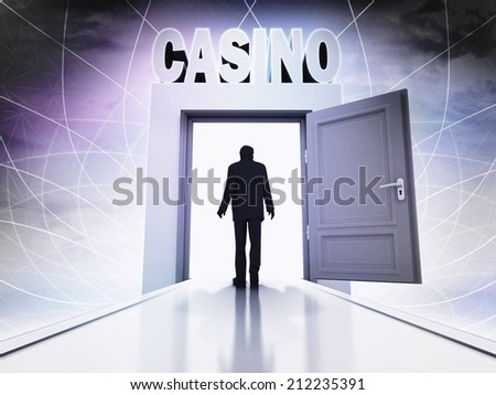 person going to casino at magic doorway background illustration - stock photo