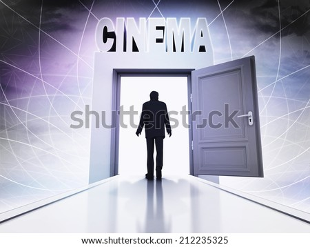 person going to cinema screening through magic doorway background illustration - stock photo